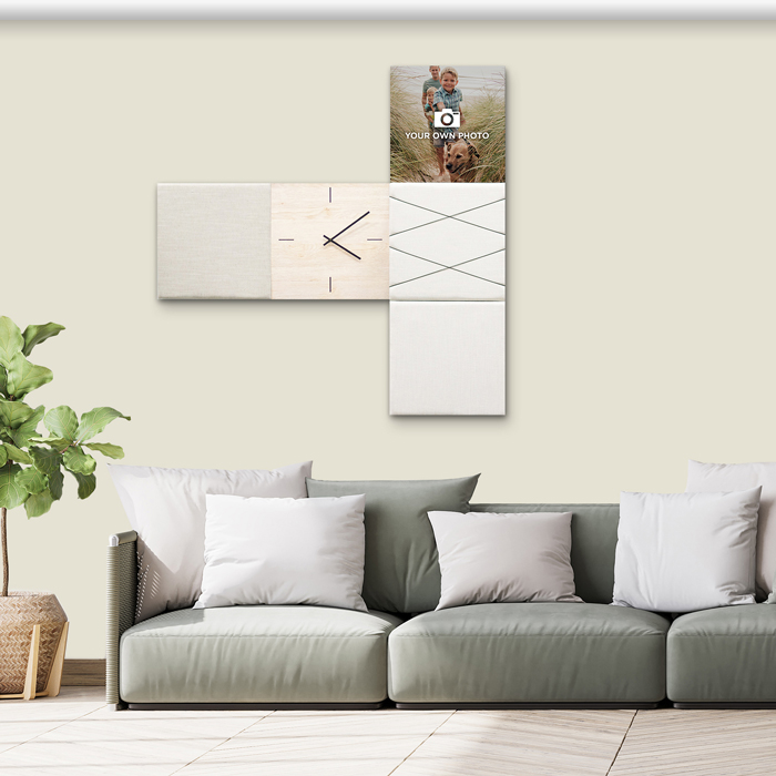 Beige (off white) wanddeco - set 5 panelen - combi 11