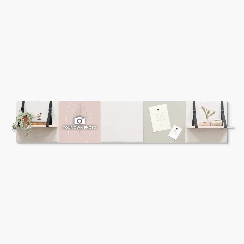 Beige (off white) wanddeco - set 5 panelen - combi 12