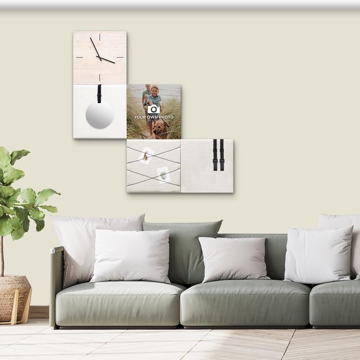 Beige (off white) wanddeco - set 5 panelen - combi 1