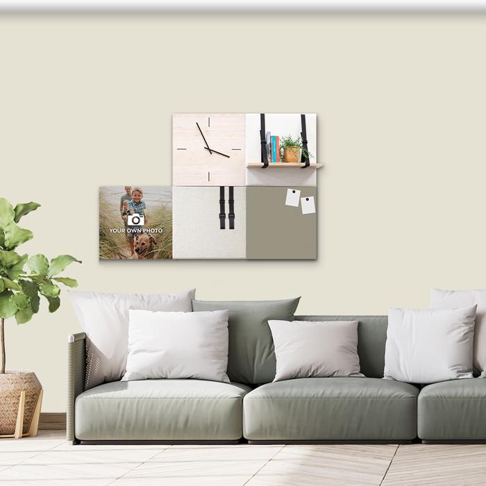 Beige (off white) wanddeco - set 5 panelen - combi 2