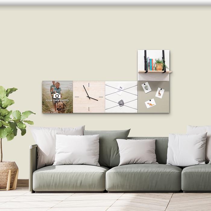 Beige (off white) wanddeco - set 5 panelen - combi 3