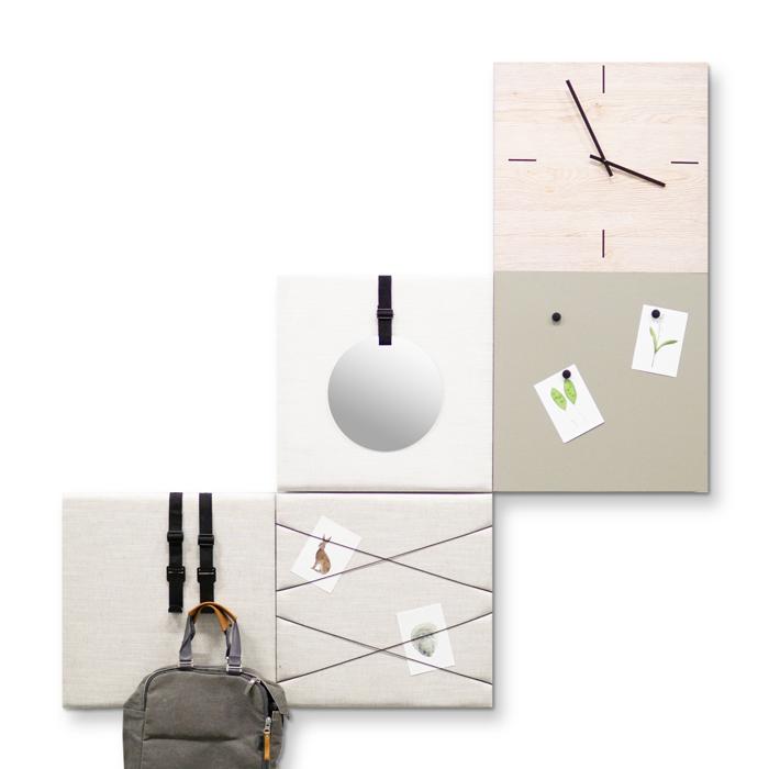 Beige (off white) wanddeco - set 5 panelen - combi 4