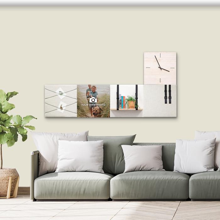 Beige (off white) wanddeco - set 5 panelen - combi 5