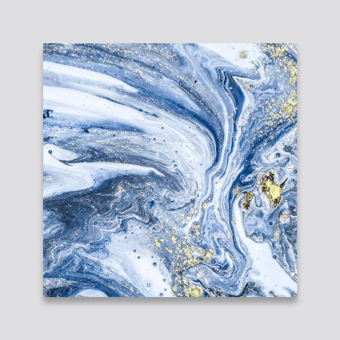 Blauwe wanddeco - set 5 panelen - combi 6